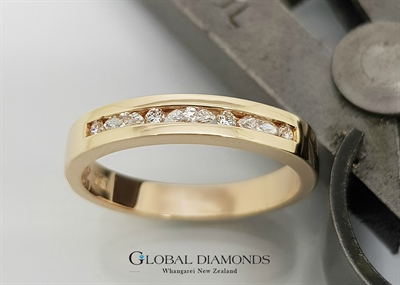 9ct Yellow Gold Marquise and Round Brilliant Cut Diamond Ring