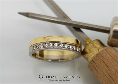 18ct Two Tone Gold and Diamond Set Ring