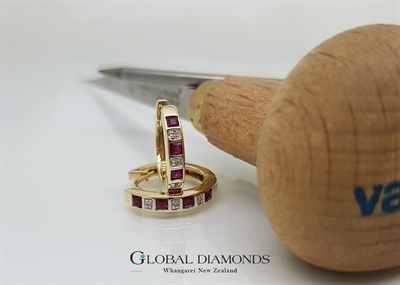 9ct Yellow Gold Ruby and Diamond Huggie Earrings