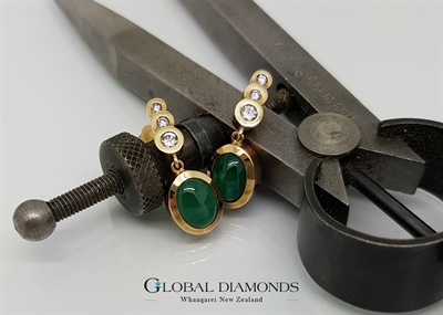 9ct Yellow Gold Emerald and Diamond Drop Earrings