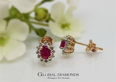 9ct Yellow and White Gold Ruby Cluster Earrings