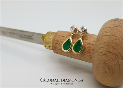 9ct Two Tone Gold Emerald and Diamond Drop Earrings