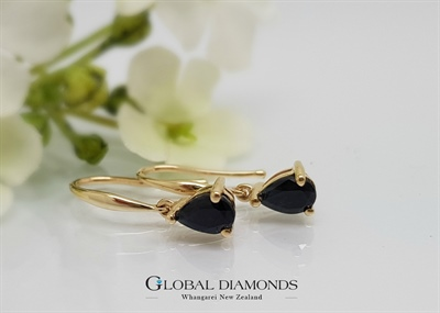 9ct Yellow Gold Sapphire Earrings