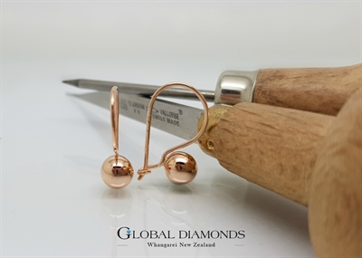 9ct Rose Gold 6mm Euro Ball Earrings